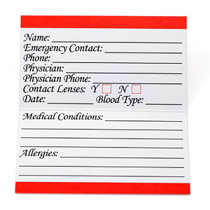 Medical Alert Wallet Card
