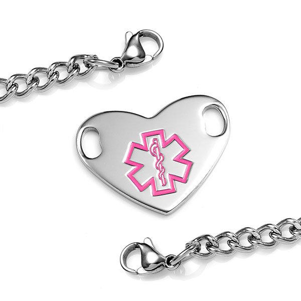 Girls Medical Bracelet with Heart Tag 5 1/2 Inch inset 1