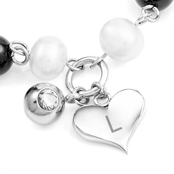 Pearl and Onyx Bracelet for Medical Tag with Engravable Heart Charm inset 1