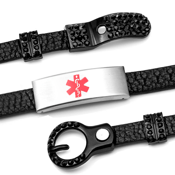 Black Leather Bracelet with Studded Buckle - Medical ID inset 3