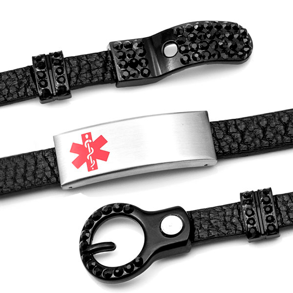 Black Leather Bracelet with Studded Buckle - Medical ID inset 2