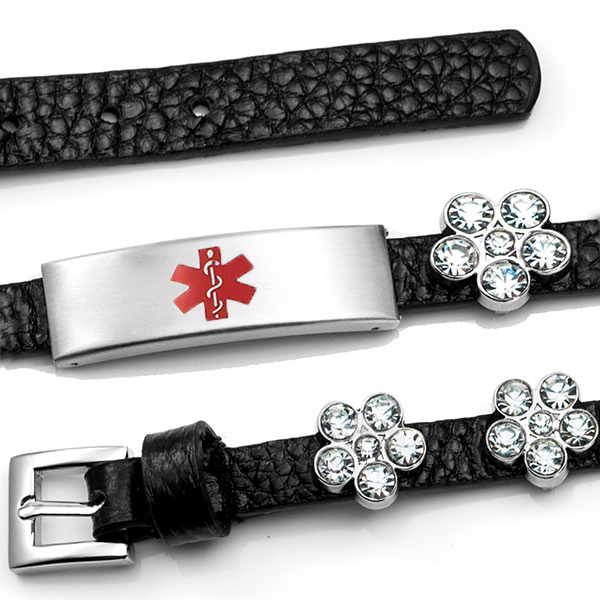 Black Leather Bracelet with Crystal Flowers - Medical ID inset 3