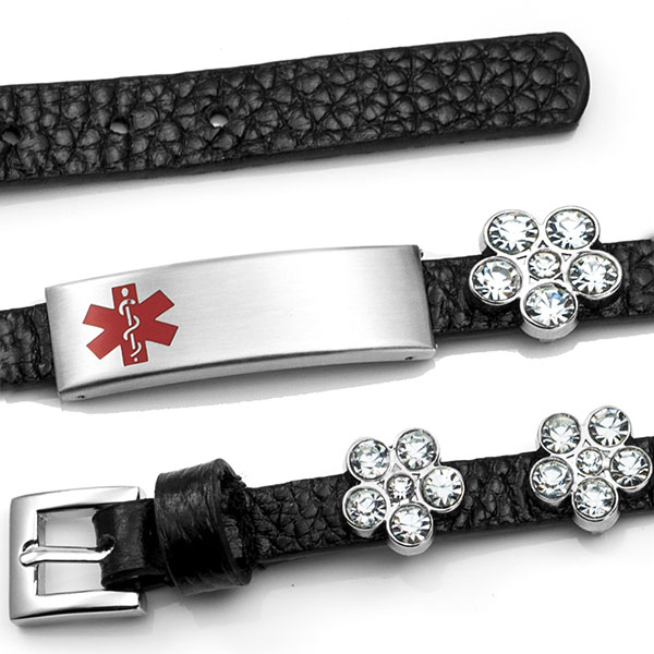 Black Leather Bracelet with Crystal Flowers - Medical ID inset 1