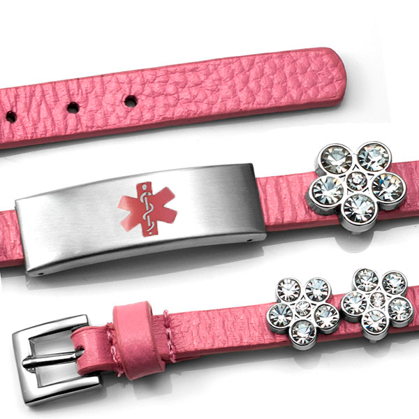 Pink Leather Bracelet with Crystal Flowers - Medical ID inset 3