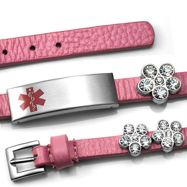 Pink Leather Bracelet with Crystal Flowers - Medical ID inset 1