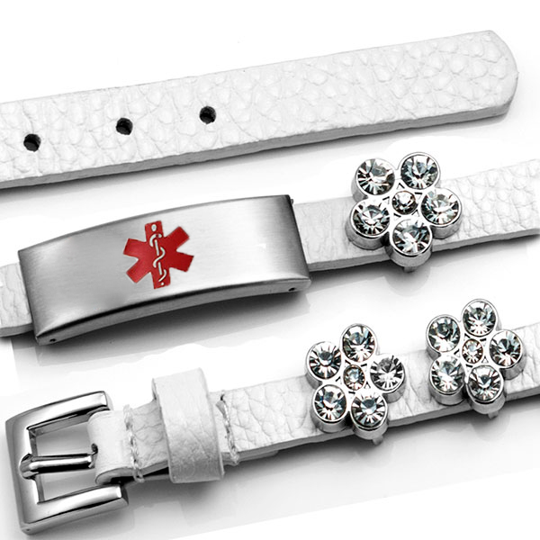 White Leather Bracelet with Crystal Flowers - Medical ID inset 3