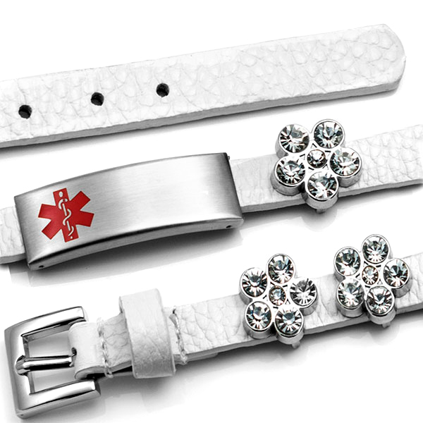 White Leather Bracelet with Crystal Flowers - Medical ID inset 1