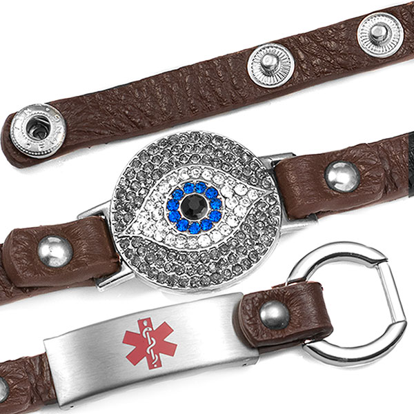 Brown Lucky Watching Eye Leather Medical Bracelet with Crystal Design - HSKU:2030-BRN inset 1