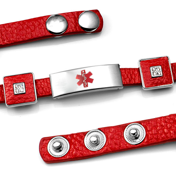 Red Leather Bracelet with Crystal Squares - Medical ID inset 3