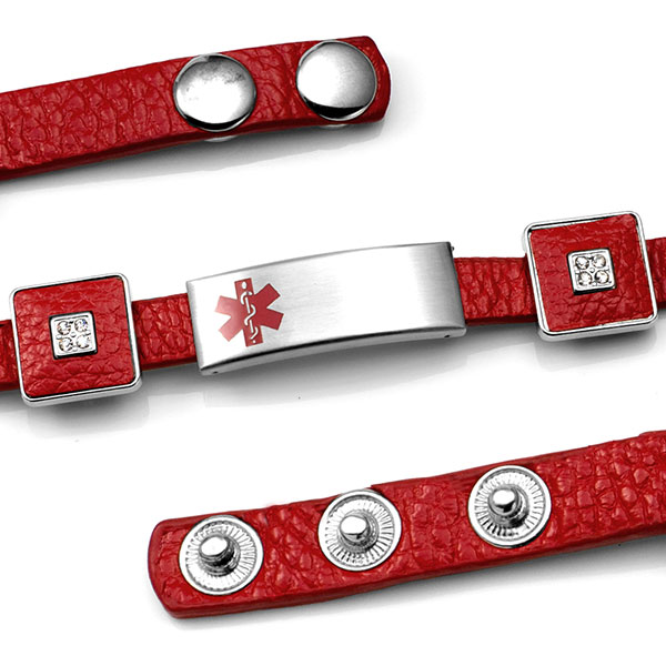 Red Leather Bracelet with Crystal Squares - Medical ID inset 1