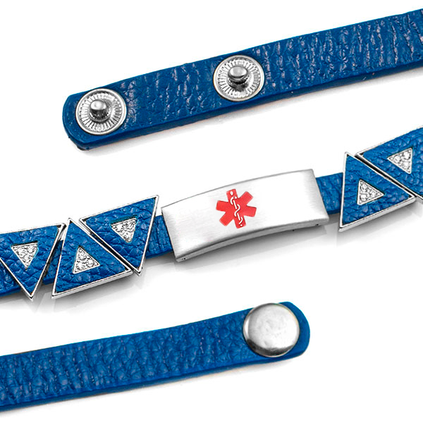 Blue Leather Bracelet with Crystal Triangles - Medical ID inset 2