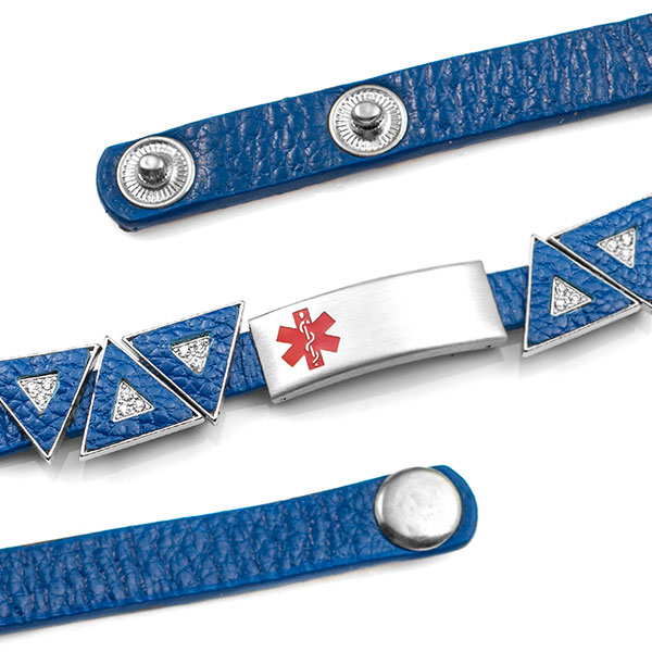 Blue Leather Bracelet with Crystal Triangles - Medical ID - HSKU:2034 inset 1