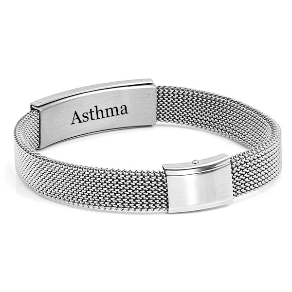 Stainless Steel Stretch Mesh Medical Bracelet 9 inch Adjustable - HSKU:3025-L inset 1