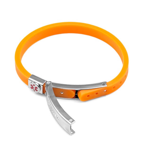 Rubber Bracelet Thin - Orange - Medical ID inset 1