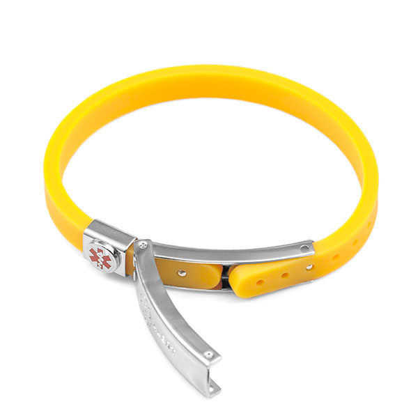 Rubber Bracelet Thin - Yellow - Medical ID inset 1