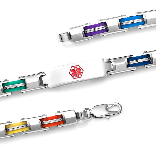Stainless Six Color Fashion Medical Bracelet - 7.5 inch inset 1