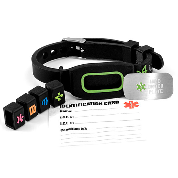 Sports Identification Medical Bracelet - Green - HSKU:4id107 inset 2