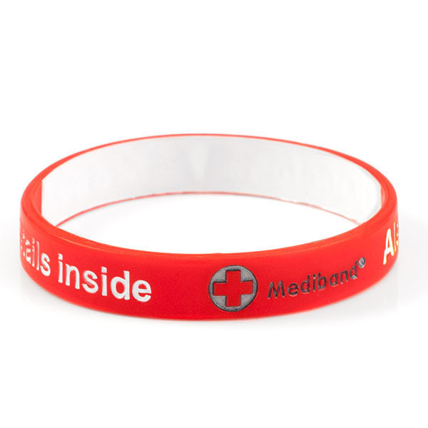 Mediband - Allergy Write on - Red - (Medium) inset 1