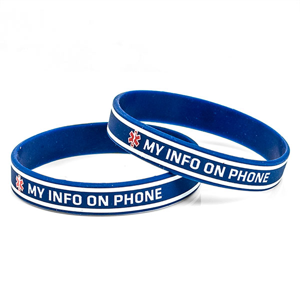 My Info On Phone Silicone Band - 8 inches fits up to 7.5 inch wrist inset 1