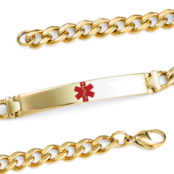 Gold Plated Medical Bracelet 7.5 inch - HSKU:1055 inset 1