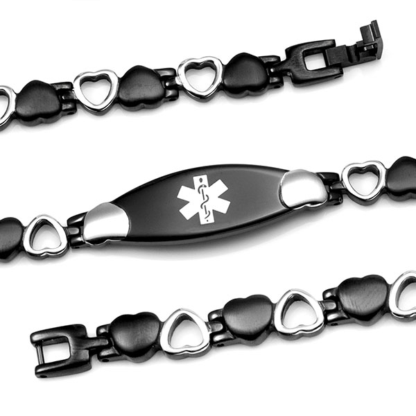 Black Satin Heart Medical Bracelet 7.5 inch - HSKU:5107 inset 1