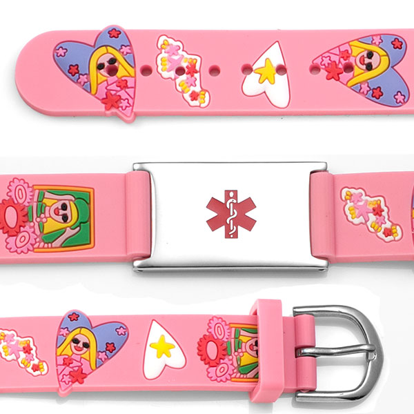 Rubber Watch Band Pink Girls & Hearts Kids ID Bracelets inset 1