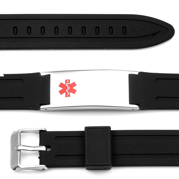 Adjustable Black Classic Rubber Medical Alert Bracelet - HSKU:6090 inset 1