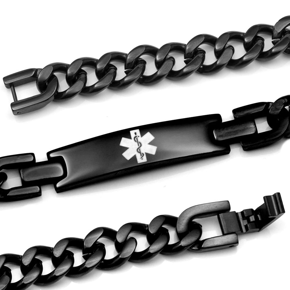 Black Stainless Curb Link Medical Bracelet - HSKU:8038 inset 1