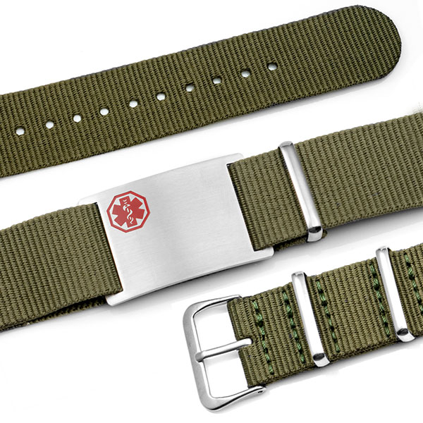 Olive Nylon Watch Band Medical Bracelet inset 1