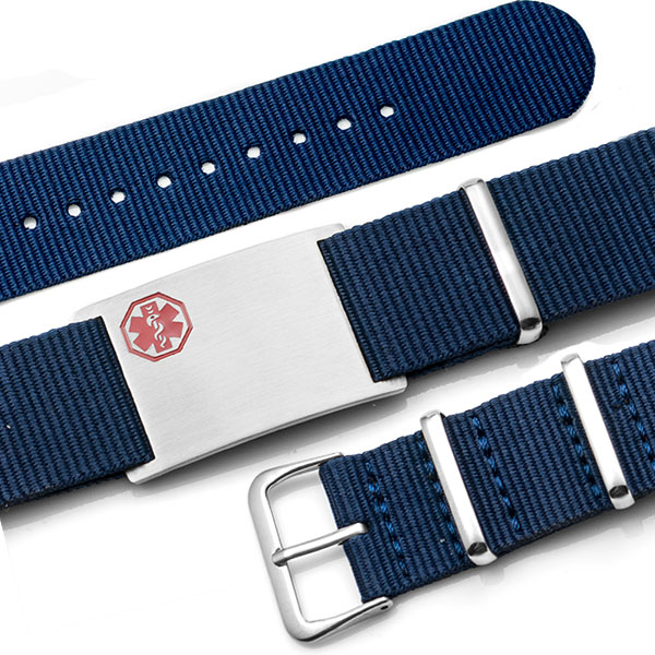 Blue Nylon Watch Band Medical Bracelet inset 1