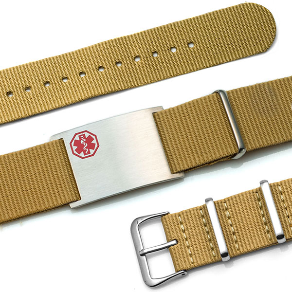 Tan Nylon Watch Band Medical Bracelet - Medical ID inset 1
