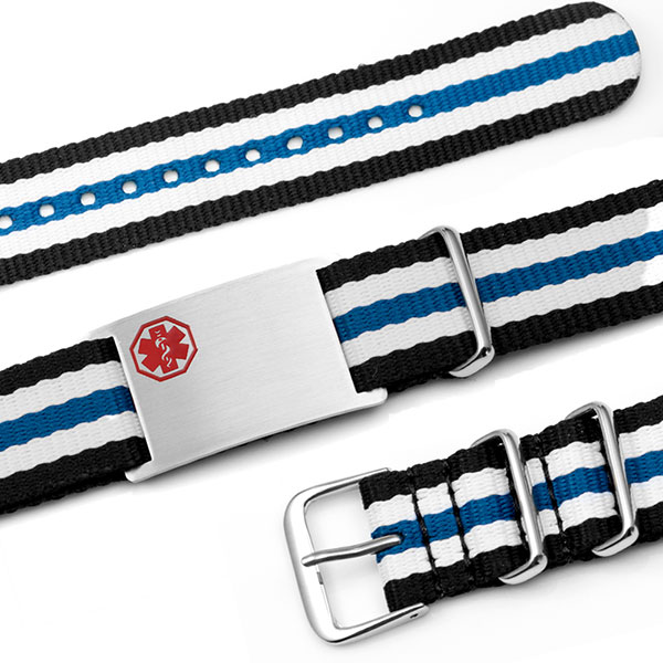 Blue, White and Black Nylon Stripe Medical Bracelet inset 1