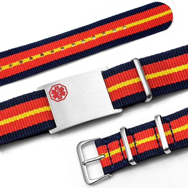 Navy, Red, Yellow Nylon Stripe Medical Bracelet inset 1