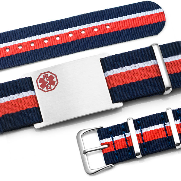 Red, White, & Blue Nylon Stripe Medical  Bracelet - Medical ID - HSKU:DTJ-3646 inset 1