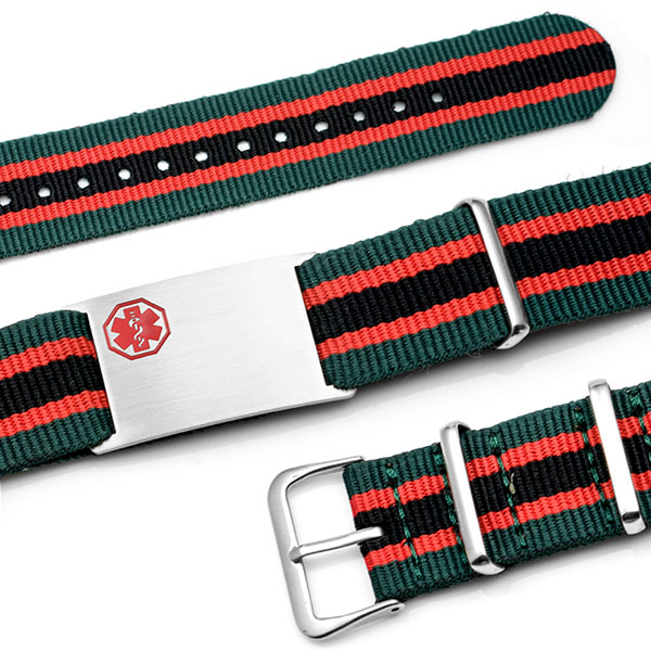 Green, Red,  Black Nylon Stripe Medical ID Bracelet - Medical ID inset 1