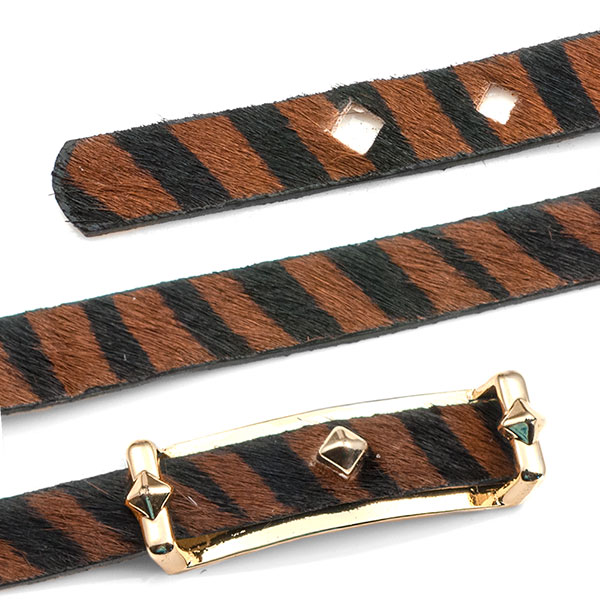 Black Leather Bracelet with Textured Brown & Black Stripe - Non-Medical - HSKU:NM-2026-B inset 1