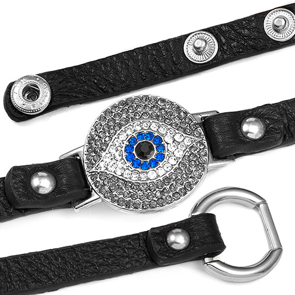Black Watching Eye Leather Bracelet with Crystal Design - Non-Medical inset 1