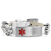 White Leather Bracelet with Crystal Flowers - Medical ID - HSKU:2028-W