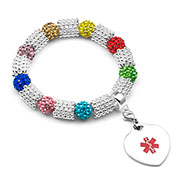 Silver Tone with Multi Crystal Beads Medical ID - HSKU:4121