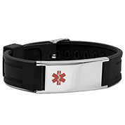 Adjustable Black Classic Rubber Medical Alert Bracelet - HSKU:6090