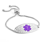 Adjustable Medical Bracelet with 3D Tag Purple Symbol