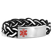 Black Shadow Braided Elastic Medical Bracelet - HSKU:8096