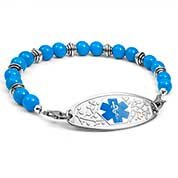 Blue and Silver Bead Bracelet 7.5 inches