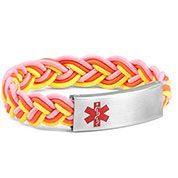 Braided Elastic Pink and Yellow Stretch Bracelet - Medical ID - HSKU:8091