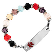 Multi-Color-Crystal Bead Medical Alert Bracelet - HSKU:1032