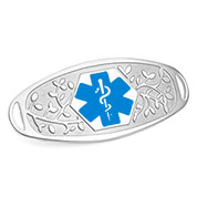 Fancy 3D Medical ID Tag with Blue Symbol Stainless