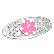 Fancy 3D Medical ID Tag with Pink Symbol Stainless