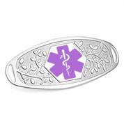 Fancy 3D Medical ID Tag with Purple Symbol Stainless