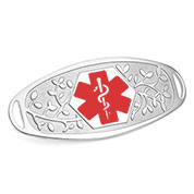Fancy 3D Medical ID Tag with Red Symbol Stainless