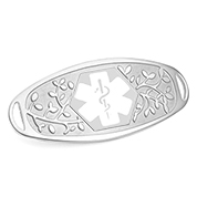 Fancy 3D Medical ID Tag with White Symbol Stainless